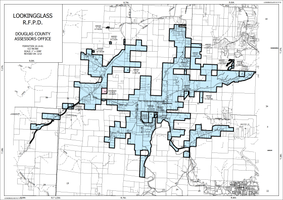 The boundary area for the Lookingglass Rural Fire District Service Area is in blue.